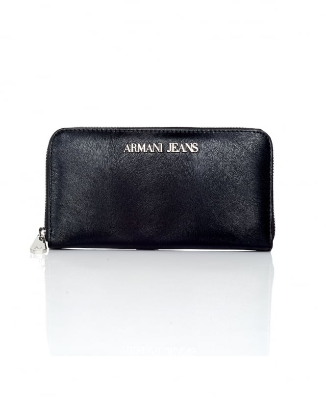 Armani Jeans Womens Pony Zip Around Black Wallet