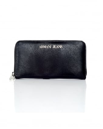 Womens Pony Zip Around Black Wallet