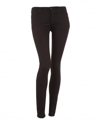 Womens Power Stretch Mid Skinny Black Jeans