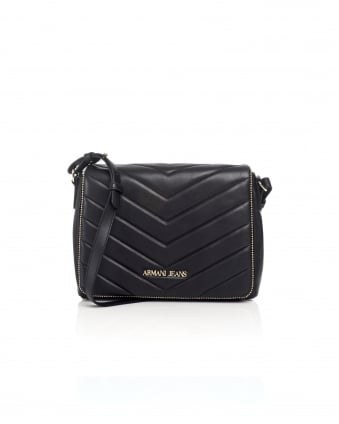 Womens Quilted Crossbody Black Bag