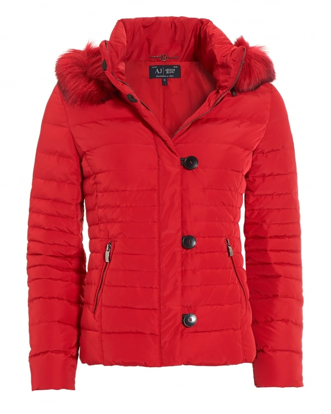 Armani Jeans Womens Red Faux Fur-Trimmed Short Puffa Jacket