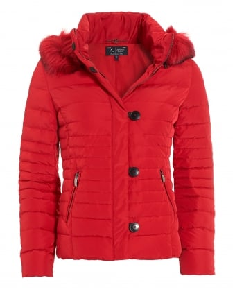 Womens Red Faux Fur-Trimmed Short Puffa Jacket