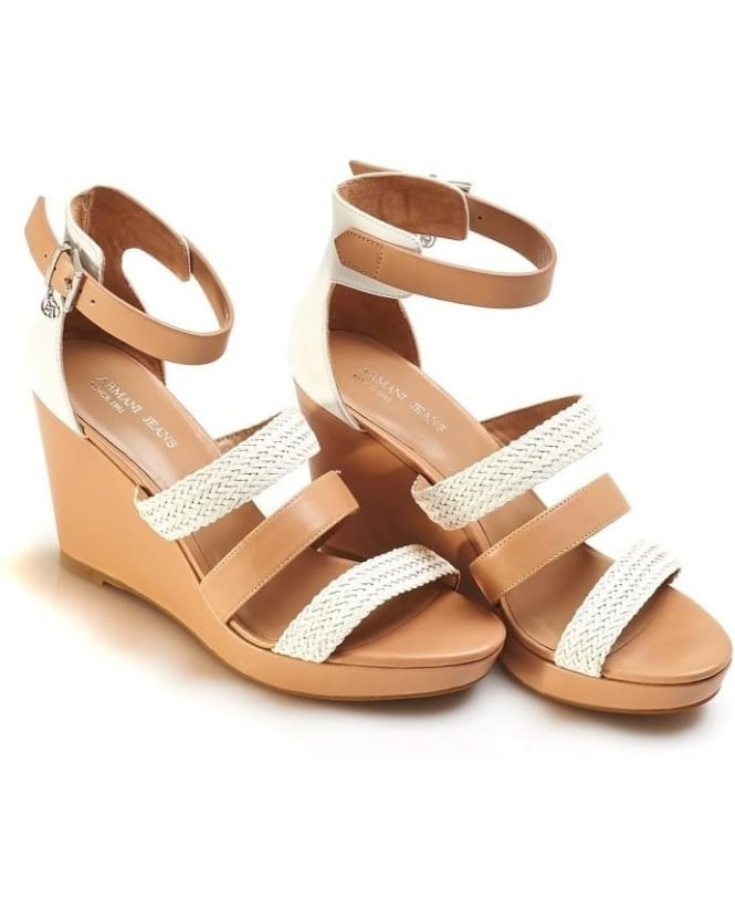 Armani Jeans Womens Sandals, Woven Strap Beige White Wedges