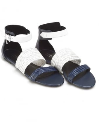 Womens Sandals, Woven Strap Navy Blue White Shoes