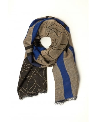 Womens Shawl, Tartan Heart Grey Blue Scarf