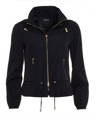 Womens Short Hooded Navy Blue Jacket