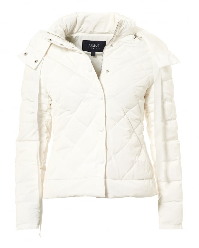Armani Jeans Womens Short Puffa Jacket, Diamond Quilt White Jacket