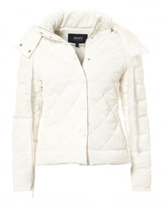 Womens Short Puffa Jacket, Diamond Quilt White Jacket