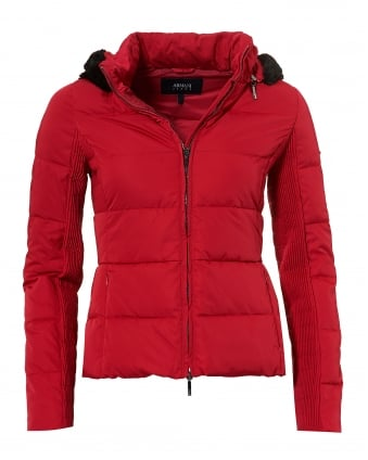 Womens Short Puffa Jacket, Down Filled Cherry Red Jacket