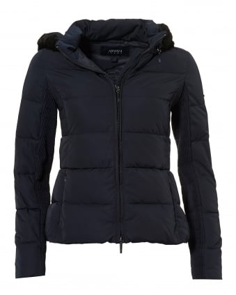 Womens Short Puffa Jacket, Down Filled Navy Blue Jacket