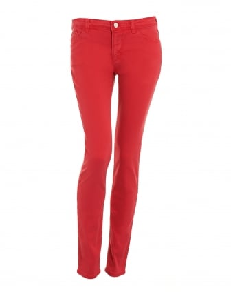 Womens Skinny Jeans, Red Stretch Denim