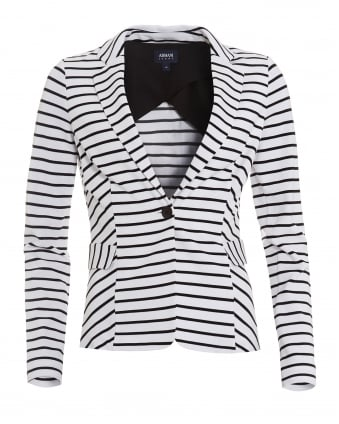 Womens Striped Blazer, Stretch Jersey White Black Jacket