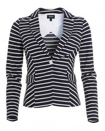 Womens Striped Blazer, Stretch Jersey White Navy Blue Jacket