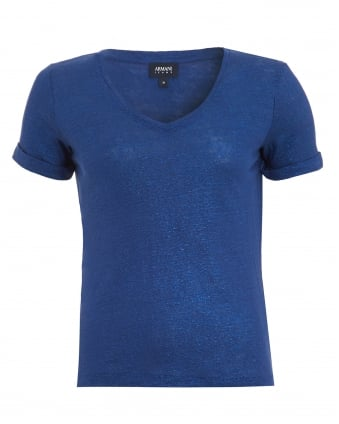 Womens T-Shirt, V-Neck Linen Blue Tee