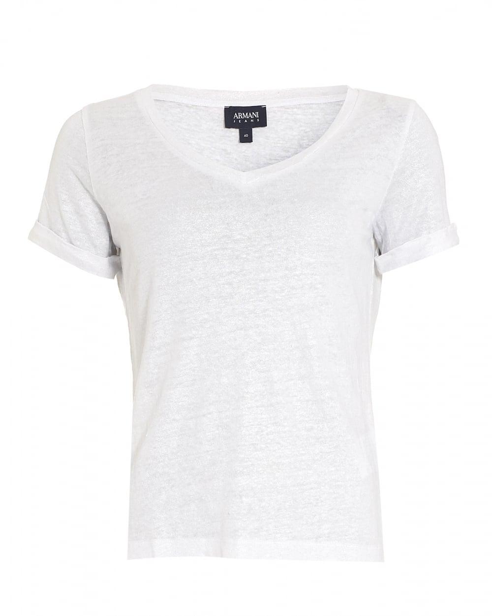 Armani Jeans Womens T Shirt V Neck Linen White Tee