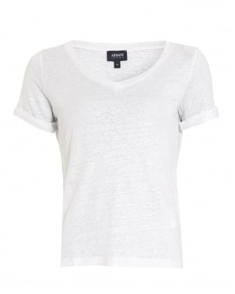 Womens T-Shirt, V-Neck Linen White Tee