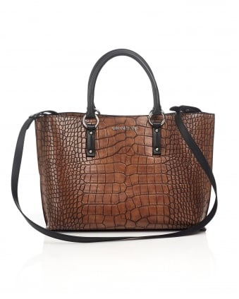 Womens Tote, Cross-body Crocodile Effect Brown Bag