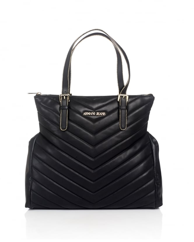 Armani Jeans Womens Tote, Quilted Stitch Black Shopper Bag