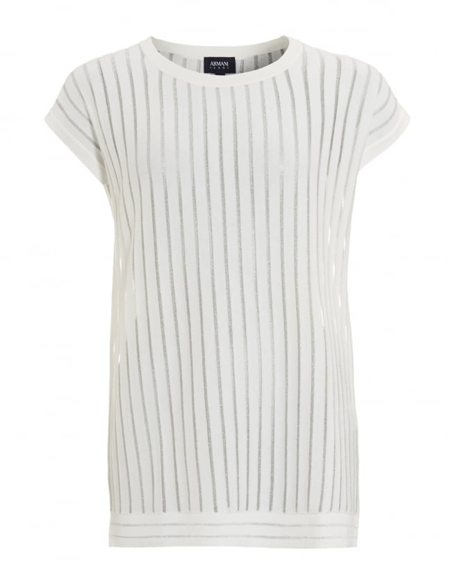 Armani Jeans Womens Vertical Sheer Striped White Top