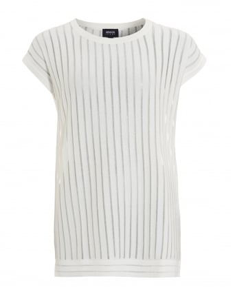 Womens Vertical Sheer Striped White Top