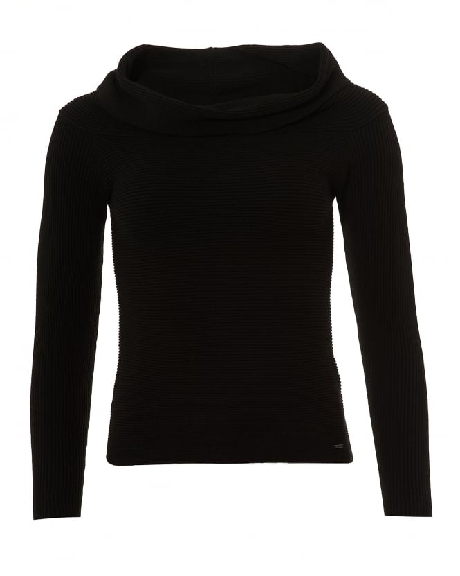 Armani Jeans Womens Wide Cowl Neck Jumper, Ribbed Neck Black Sweater
