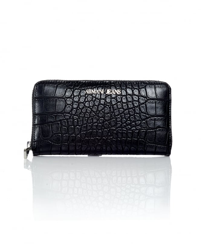 Armani Jeans Womens Zip Up Crocodile Black Purse