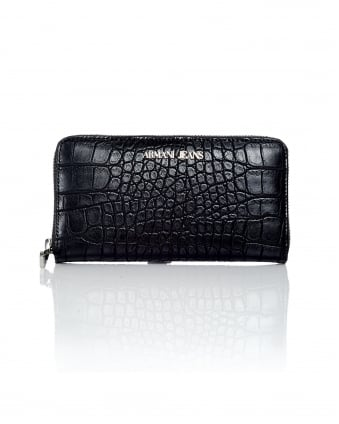 Womens Zip Up Crocodile Black Purse