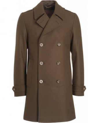 Army Green Military Long Wool Mix Peacoat