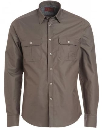 Army Olive Long Sleeve Cargo Shirt