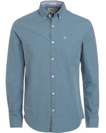 Arona Blue Gingham Heritage Slim Fit 'Belam' Shirt
