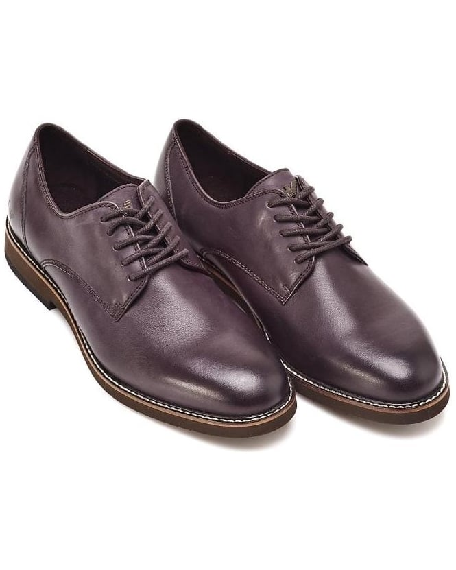 Armani Jeans Aubergine Lace Up Purple Effect Shoes