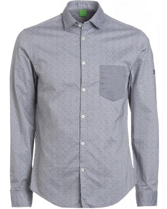 Hugo Boss Green 'Badone' Navy Grey Slim Fit Honeycombe Print Shirt
