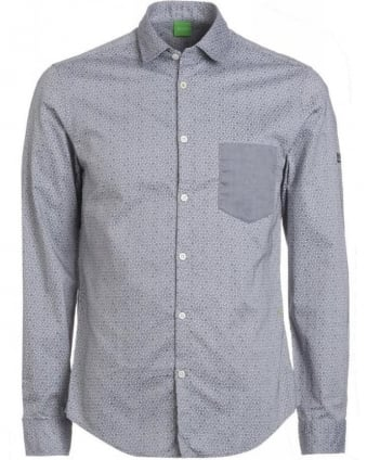 'Badone' Navy Grey Slim Fit Honeycombe Print Shirt