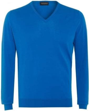 Bampton Mens Jumper Alpine Blue V Neck Slim Fit Sweater