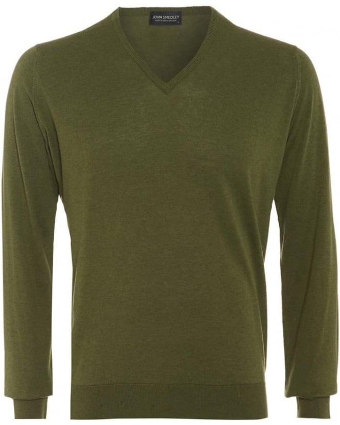 John Smedley Bampton Mens Jumper Green V Neck Slim Fit Sweater