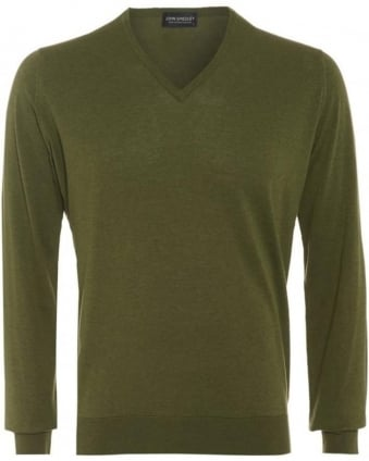 Bampton Mens Jumper Green V Neck Slim Fit Sweater
