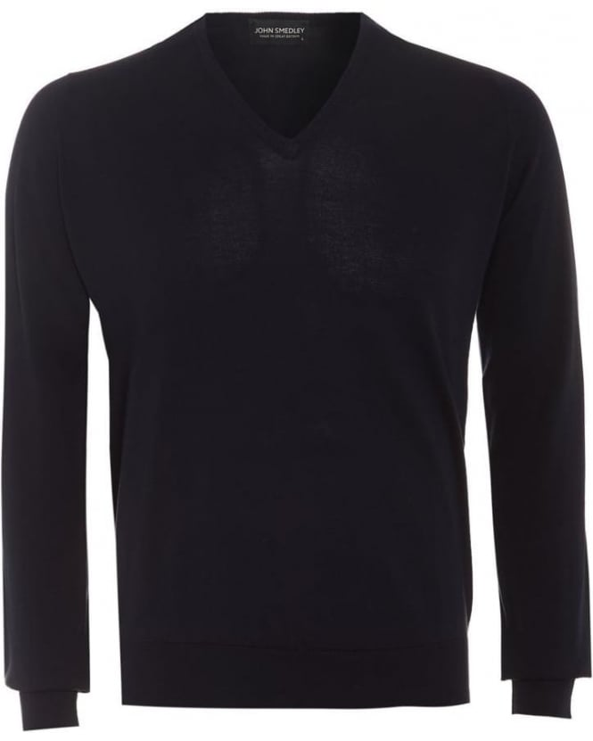 John Smedley Bampton Mens Jumper Navy Blue V Neck Slim Fit Sweater
