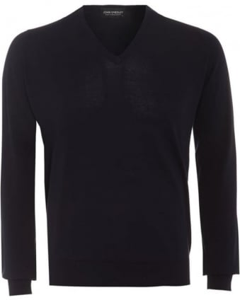 Bampton Mens Jumper Navy Blue V Neck Slim Fit Sweater
