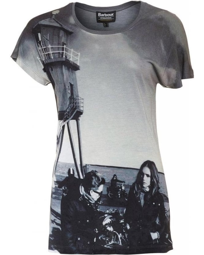 Barbour Grey Photographic Print Oversized Wing Tee T-Shirt