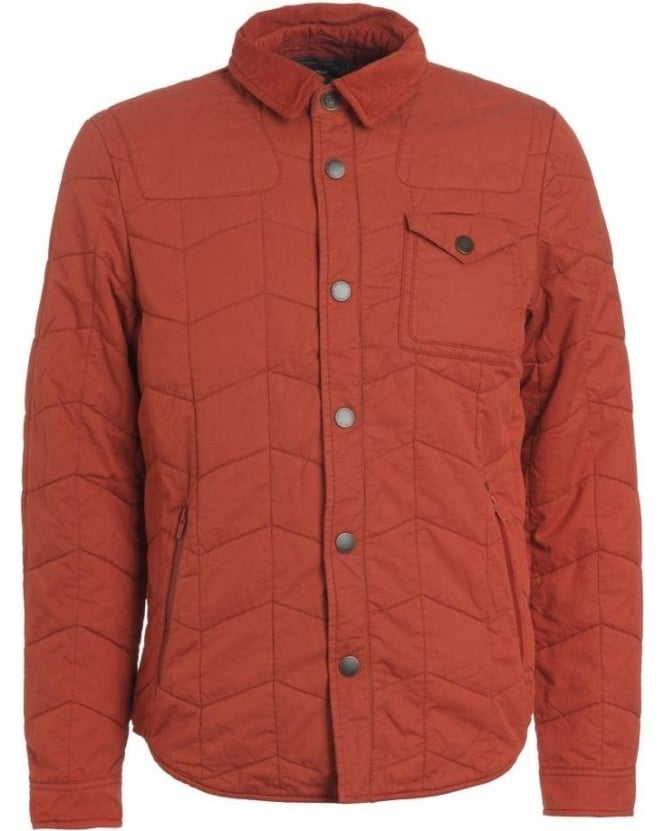 Barbour Heritage, Brick Red 'Curve Dept B' Quilted Overshirt