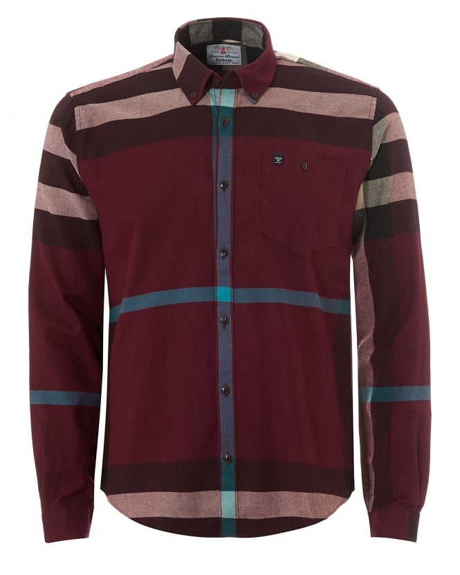 Barbour Heritage Mens Alfie Off Centre Check Burgundy Shirt