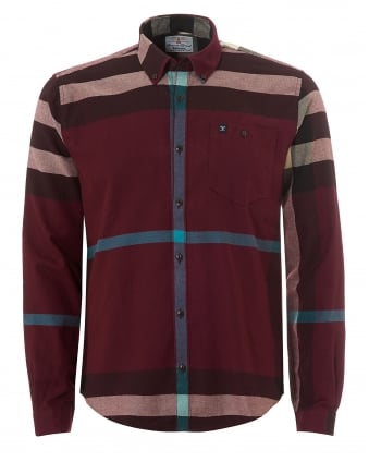 Heritage Mens Alfie Off Centre Check Burgundy Shirt