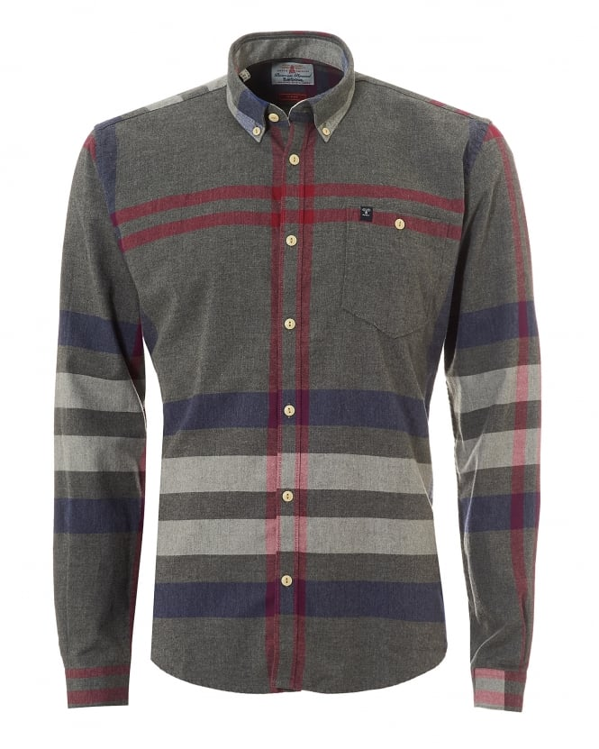 Barbour Heritage Mens Alfie Off Centre Check Grey Marl Shirt