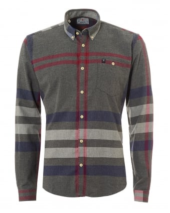 Heritage Mens Alfie Off Centre Check Grey Marl Shirt