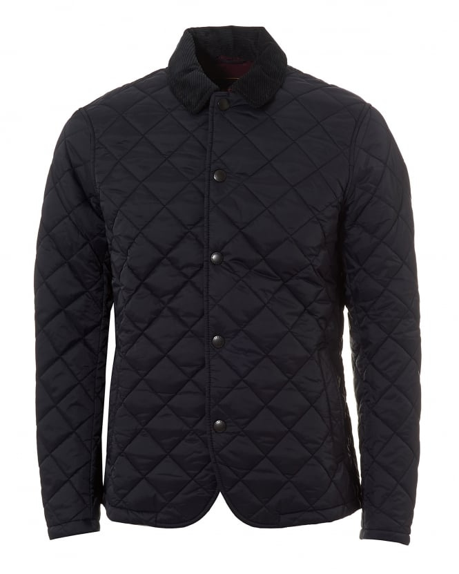 Barbour Heritage Mens Quilted Drill Jacket, Navy Blue Coat