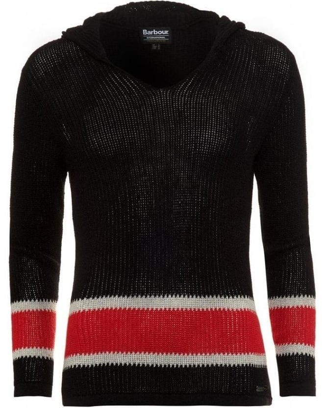 Barbour International Black and Red 'Electra Hood' Mesh Knit