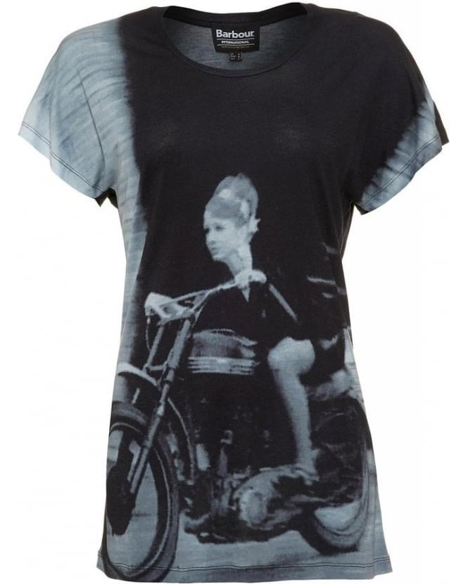 Barbour International Black Photographic Print Oversized 'Sprint Tee' T-Shirt
