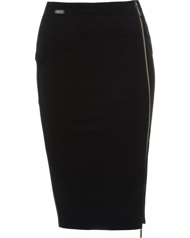 Barbour International Black 'Ventura' Fitted Pencil Skirt