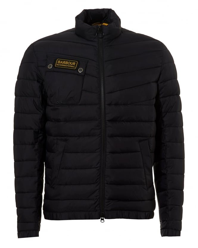 Barbour International Chain Baffle Horizontal Quilt Black Jacket