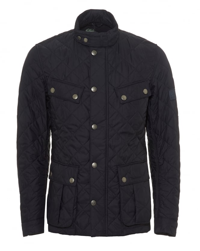 Barbour International Mens Ariel Quilted Jacket, Navy Blue Coat